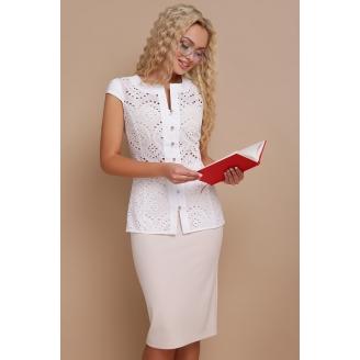 Белая хлопковая блуза без рукавов Flori