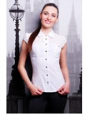 Белая летняя блузка с коротким рукавом Faysta