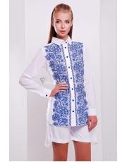 Белая женская рубашка с асимметричным низом Djovanna