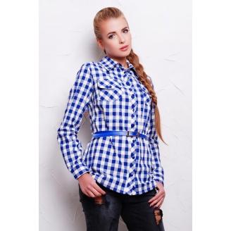 Удлиненная женская рубашка в клетку с поясом Texas2