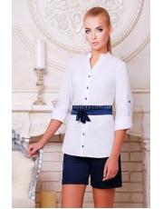 Удлиненная женская блуза из белого нейлона с атласным поясом Kiola
