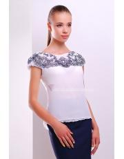 Белая блузка из шифона с коротким рукавом Foria