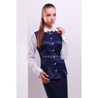Женская темно-синяя блузка с белыми рукавами и воротником Bea
