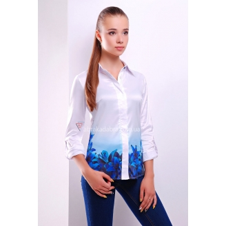 Модная женская белая рубашка с цветами Zoya