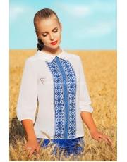 Легкая шифоновая блузка с принтом в традиционном украинском стиле Tamila