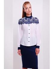 Белая деловая блуза скружевным узором Esenia