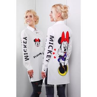 Удлиненная белая рубашка с принтом Mickey