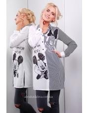 Женская удлиненная принтованная рубашка Mickey