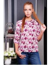 Блуза с укороченным рукавом в цветы Pion