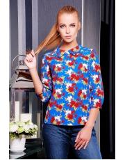 Блуза женская с воротником в цветы Rose