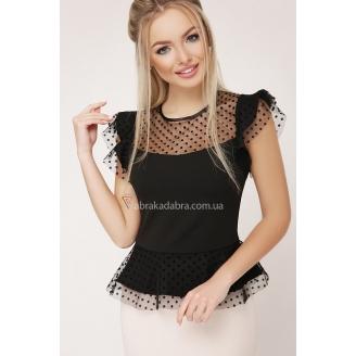 Блуза в горошек с баской Laiza