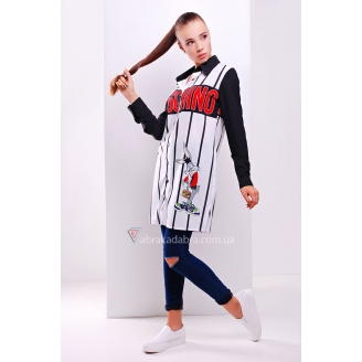 Удлиненная блуза-рубашка с оригинальным принтом Moschino