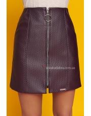 Кожаная мини юбка с молнией по всей длине Nomi