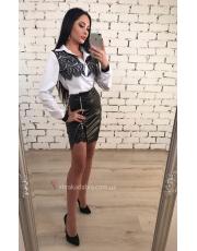 Кожаная мини юбка с кружевом Laty
