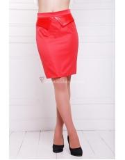 Короткая женская юбка-карандаш из костюмного шелка на кокетке Estel