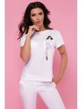 Женская белая футболка с карманом Pin up