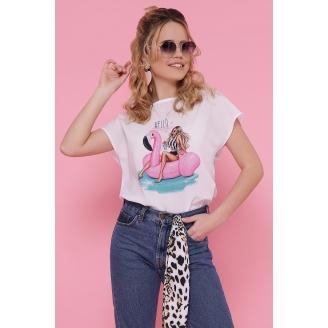 Шифоновая блуза с принтом и спущенным рукавом Mira