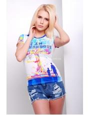 Женская футболка с ярким нестандартным принтом Kim