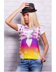 """Женская футболка с неординарным принтом """"Кошка Swag"""""""
