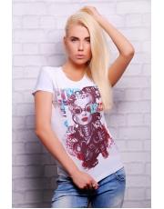 """Женская белая футболка с оригинальным принтом """"Стим панк"""""""