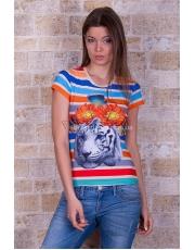 """Полосатая футболка с анималистичным принтом """"Тигр"""""""