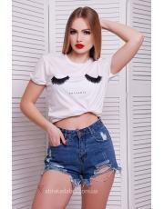 Черно-белая футболка Lashes