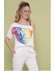 Женская белая на одно плечо футболка Paula