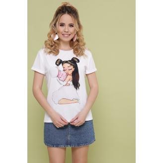 Женская белая футболка с принтом Boy2