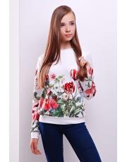 Кофта свитшот женская в цветы Tulip