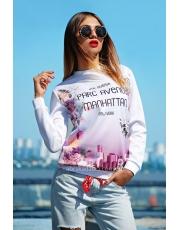 Белый свитшот женский в принт Manhattan