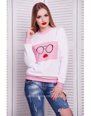 Розовый свитшот Kiss&Glasses