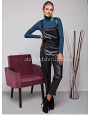 Комбинезон кожаный женский черный Hezer