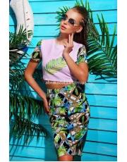 """Летний женский костюм с юбкой """"Тропический лист"""""""