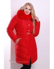 Красная женская зимняя длинная куртка под пояс Mone