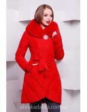 Зимняя стеганная куртка женская приталенная под пояс Zovi