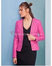 Куртка жакет кожаная с люверсами женская Mia