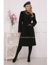 Черное классическое пальто под пояс Black