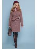 Пальто на пуговицах с меховым воротником Pink