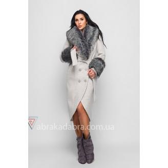 Зимнее пальто с мехом на рукавах Jessy