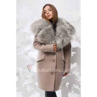 Зимнее шерстяное пальто с меховым воротником Gwen