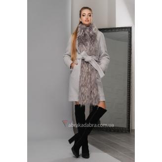 Зимнее женское пальто с мехом Leyla