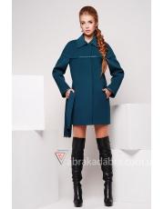 Женское пальто с кожаными вставками Leather