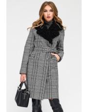 Зимнее пальто в клетку под пояс Choice