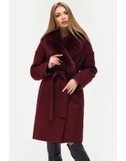 Зимнее пальто с меховым воротником под пояс Zero