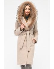 Зимнее пальто с капюшоном под пояс PL-8815