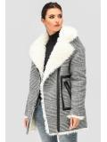 Зимнее пальто-косуха в клетку с меховым воротником PL-8818