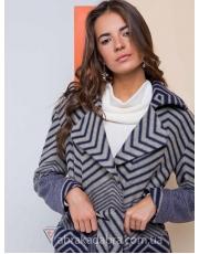 Женское полосатое пальто с накладными карманами Zebra