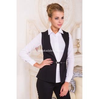 """Удлиненный женский жилет из черного костюмного шелка """"Кенси"""""""