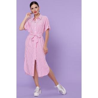 Хлопковое платье-рубашка в полоску миди Daria