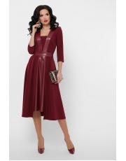 Платье с кожаными вставками длины миди Vilora